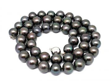 Perlový náhrdelník černé sladkovodní perly 45cm