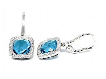 Luxusní diamantové náušnice s blue topazem bílé zlato