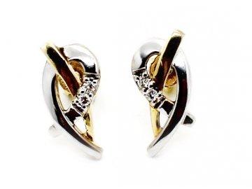 Diamantové náušnice bílé a žluté zlato