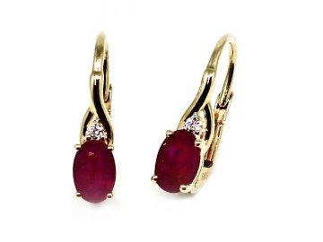 Diamantové náušnice s rubínem Ema