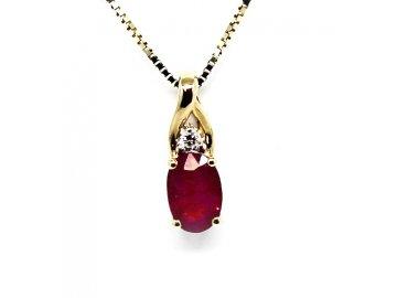 Diamantový přívěsek s rubínem Ema