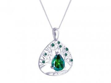 Stříbrný přívěsek Preciosa Green Tree of Life 5220 66