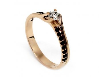 Diamantový prsten z růžového zlata 0,155ct Nike