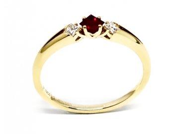 Diamantový prsten s rubínem s diamanty Delta