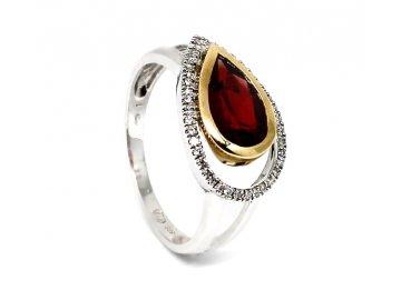 Diamantový prsten s granátem 0,104ct