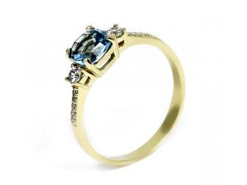 Zlatý prsten pravý blue topaz Liz