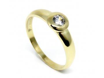 Zlatý prsten se zirkonem kulatý