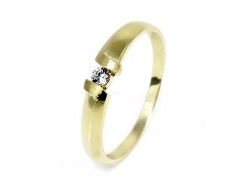 Zlatý prsten se zirkonem matný