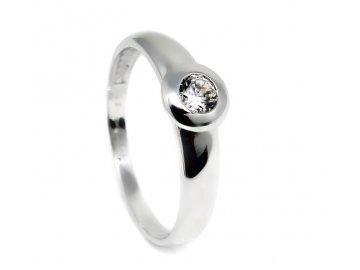 Zlatý prsten z bílého zlata a zirkonem Juta