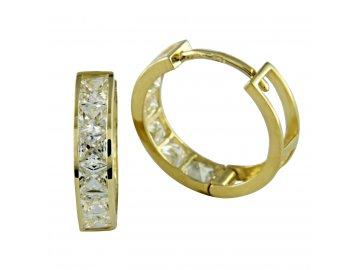 Zlaté náušnice kruhy se zirkony 17mm jednořadé