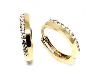 Zlaté náušnice kruhy se zirkony 1cm