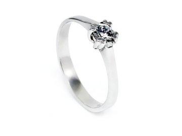 Zlatý prsten z bílého zlata se zirkonem 4mm