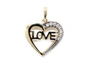 Zlatý přívěsek dvojbarevný srdíčko Love