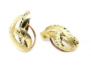 Zlaté náušnice dvojbarevné ručně ryté