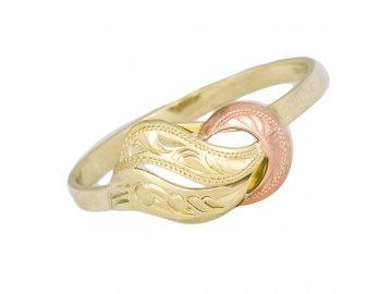 Zlatý prsten dvojbarevný ručně rytý