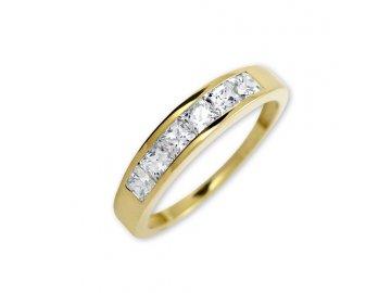 Zlatý prsten s bílými zirkony