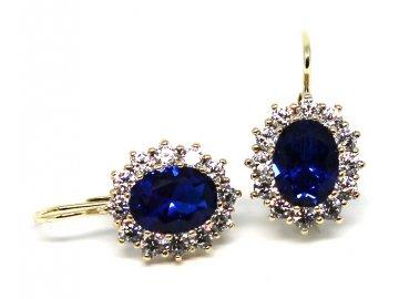 Zlaté náušnice s modrým zirkonem Kate