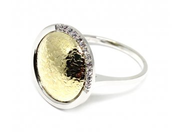 Luxusní prsten z bílého a žlutého zlata a zirkony