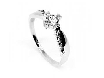 Zlatý prsten z bílého zlata se zirkony Hana