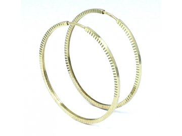 Zlaté náušnice kruhy 33mm hranaté