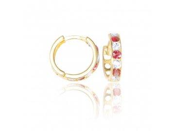 Zlaté náušnice kruhy s rubínem 1cm