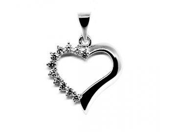 Zlatý přívěsek z bílého zlata srdce se zirkony 05/346040756