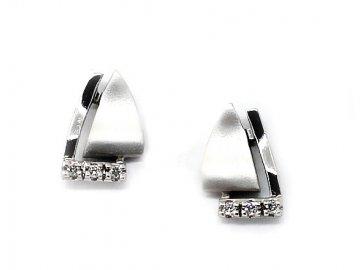 Alo diamantové náušnice bílé zlato trojúhelníky