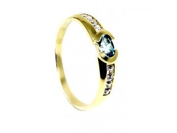 Zlatý prsten s pravým blue topazem Julie