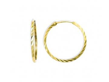 Zlaté náušnice kruhy ryté hranaté