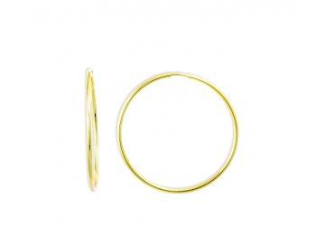 Zlaté náušnice kruhy hladké 15mm