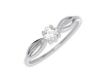 Zlatý prsten z bílého zlata a zirkonem Ema