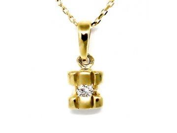 Alo diamantový přívěsek kulatý 0,05ct s řetízkem