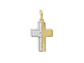 Zlatý kříž se zirkony 27mm