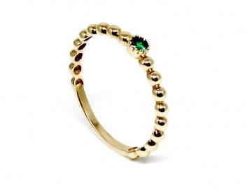 Zlatý prsten se zeleným kamenem Lea