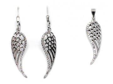 Stříbrné visací náušnice a přívěsek andělská křídla