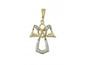 Zlatý přívěsek anděl se zirkony