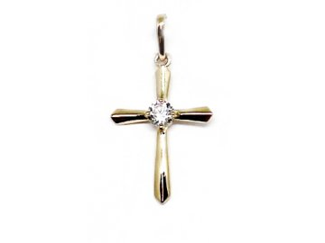 Zlatý kříž se zirkonem