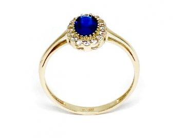 Zlatý prsten se safírem a zirkony Kate