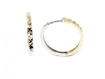 Zlaté náušnice kruhy dvojbarevné 23mm