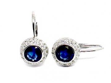 Stříbrné náušnice s modrým zirkonem Kate