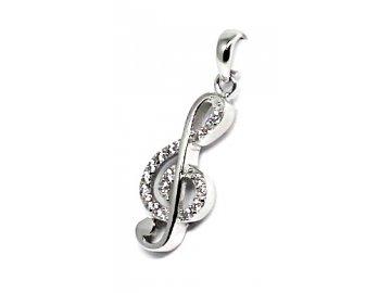 Stříbrný přívěsek se zirkony houslový klíč