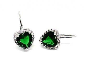 Stříbrné náušnice se zeleným zirkonem srdce