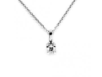 Alo diamantový přívěsek bílé zlato 0,18ct s řetízkem