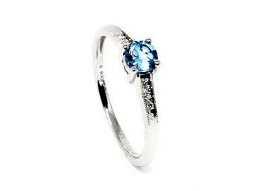 Diamantový prsten s blue topazem bílé zlato Tabit