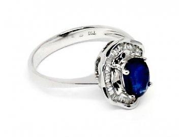 Diamantový prsten se safírem bílé zlato Syrma