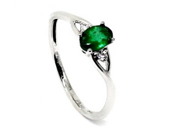 Diamantový prsten se smaragdem bílé zlato Markab