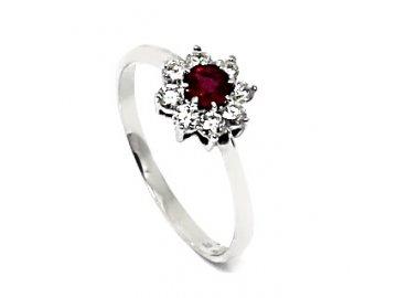 Prsten s rubínem a diamanty bílé zlato Rana