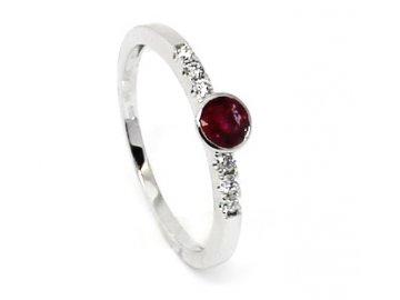 Diamantový prsten s rubínem bílé zlato Rigel