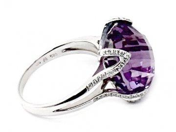 Diamantový prsten s ametystem bílé zlato Syrma