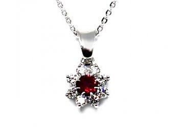 Přívěsek s rubínem a diamanty bílé zlato Rana